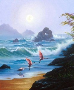 Spiaggia con fenicotteri